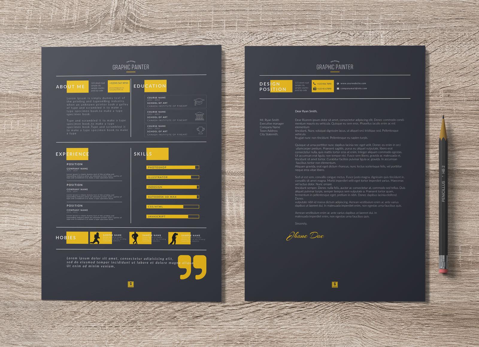 Free Dark Amp Light PSD Amp Word Resume Template Cover Letter Amp Portfolio Design Good Resume