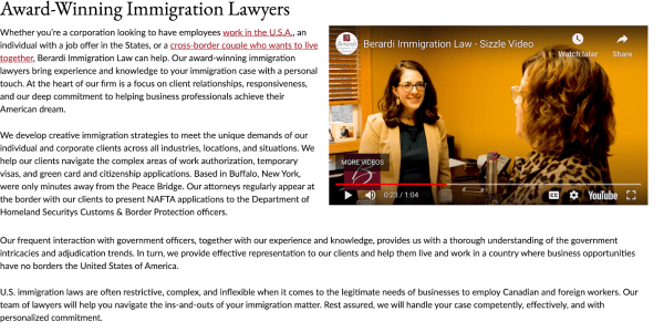 Homepage Sizzle Video: Berardi Immigration Law