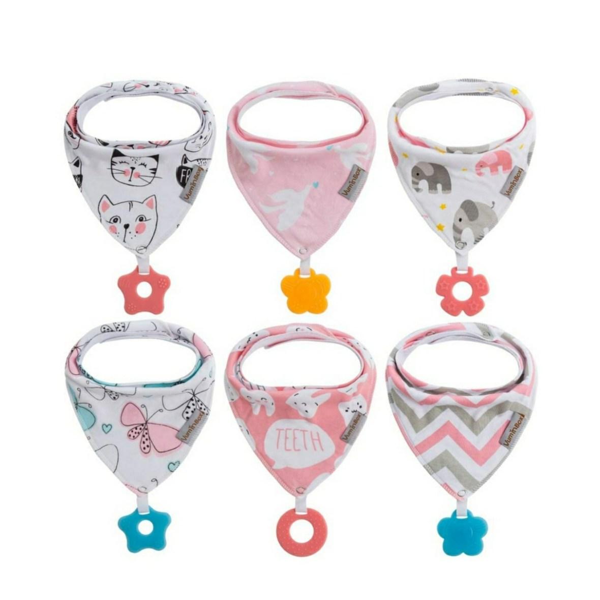 VumiBox Bandana Drool Bibs with Teether – Pink