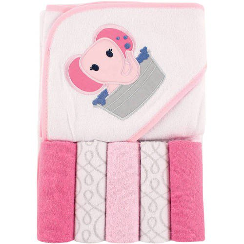 Luvable Friends Hooded Towel & 5 Washcloths – Pink Elephant