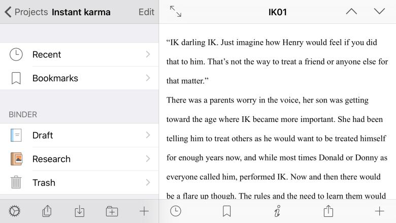 Writing in Scrivener