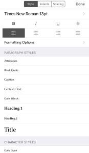 iPhone Scrivener Formatting