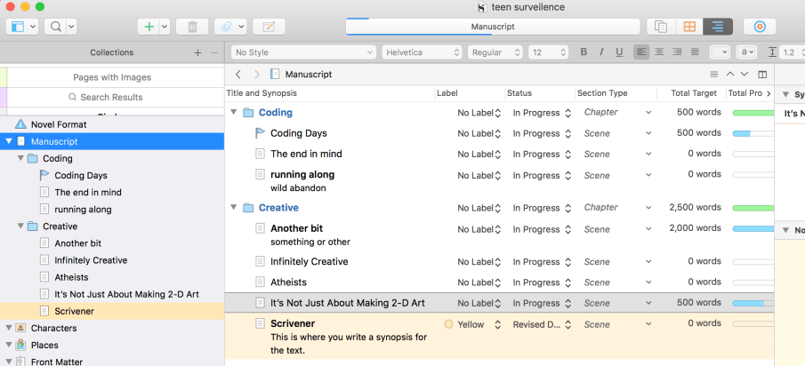 Outlining in Scrivener 3