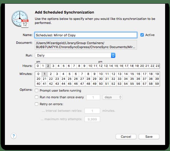 Scheduling ChronoSync Express