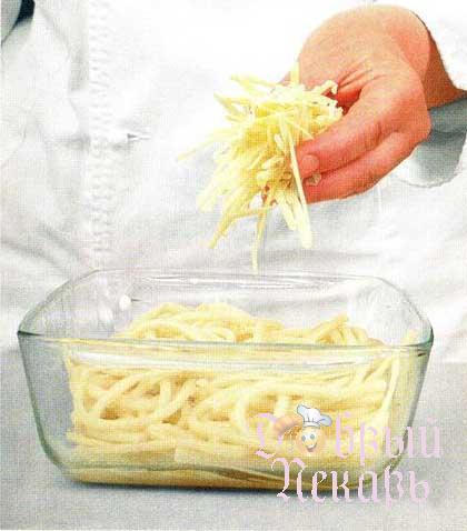 Запеченные макароны с сыром приготовление