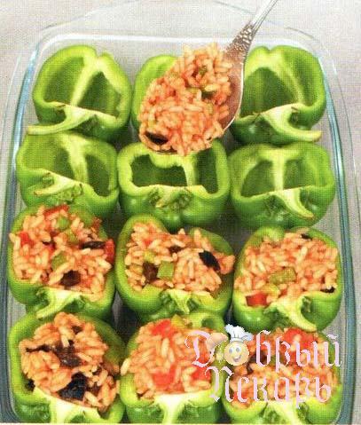 Зеленый перец с овощной начинкой приготовление 5