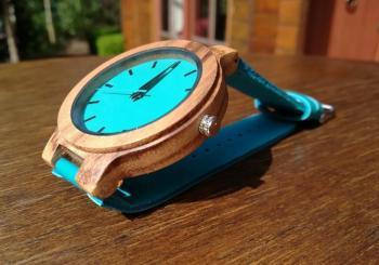 Houten horloge blauw leer