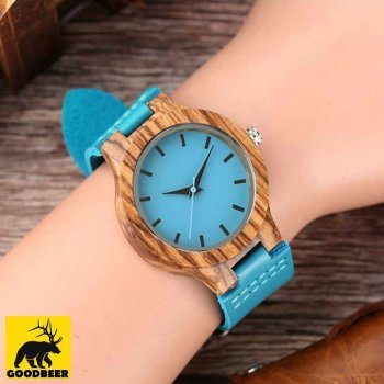 Wooden Bamboo Blue watch