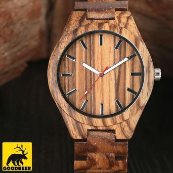 zebra bamboo wooden watch