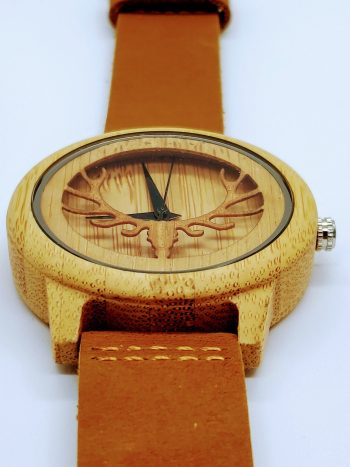 Bamboo watch with antlers