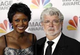 """Red Tails"" Producer George Lucas and fiancee Melody Hobson"