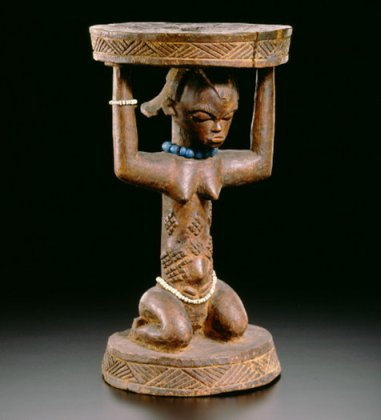 """Caryatid Stool"" from the 19th century, part of the LACMA exhibition ""Shaping Power: Luba Masterworks from the Royal Museum for Central Africa."" (LACMA / Royal Museum for Central Africa)"