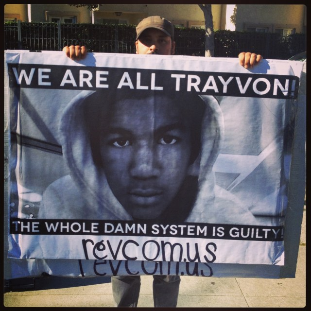 Protester at Trayvon Martin Rally in Los Angeles, 7-17-13 (Photo by Lesa Lakin)