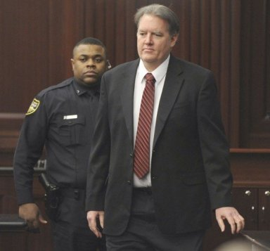 Michael Dunn is seen in the courtroom before the jury reached a verdict on Saturday. (Bob Mack, Associated Press / February 15, 2014)