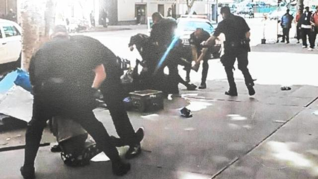 A homeless man on skid row was shot to death last month during an altercation with Los Angeles police. Cellphone video captured the incident. (Los Angeles Police Department)