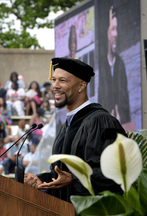 The rapper known as Common, (Lonnie Rashid Lynn, Jr.), delivered the commencement address at the WSSU graduation in Bowman Gray Stadium.