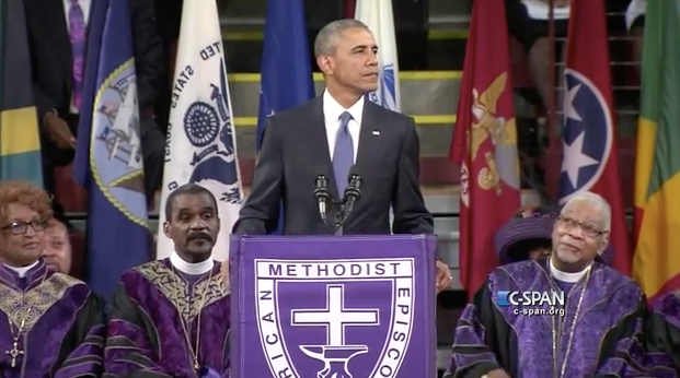 President Barack Obama gives eulogy for state Senator and Reverend Clementa Pinkney in Charleston (photo via YouTube)