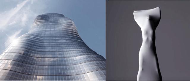 Model of Beyoncé-inspired skyscraper (l); the inspiration (r) [photos via hollywoodreporter.com)
