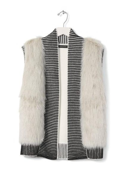 Faux-Fur Trim Open Sweater Vest - Banana Republic