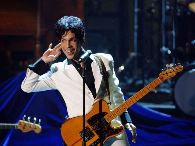 Prince performs at the 19th annual Rock and Roll Hall of Fame induction ceremony, Monday, March 15, 2004, at the Waldorf Astoria Hotel in New York. (photo via sfgate.com)