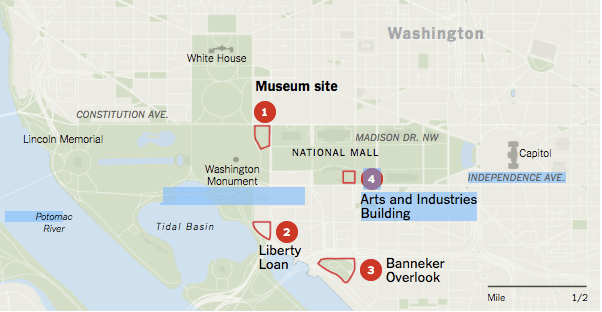 After Congress authorized the new museum, the Smithsonian's Board of Regents considered four possible locations before choosing a site on the National Mall near the Washington Monument. (Source: Smithsonian Institution. By Anjali Singhvi, The New York Times)