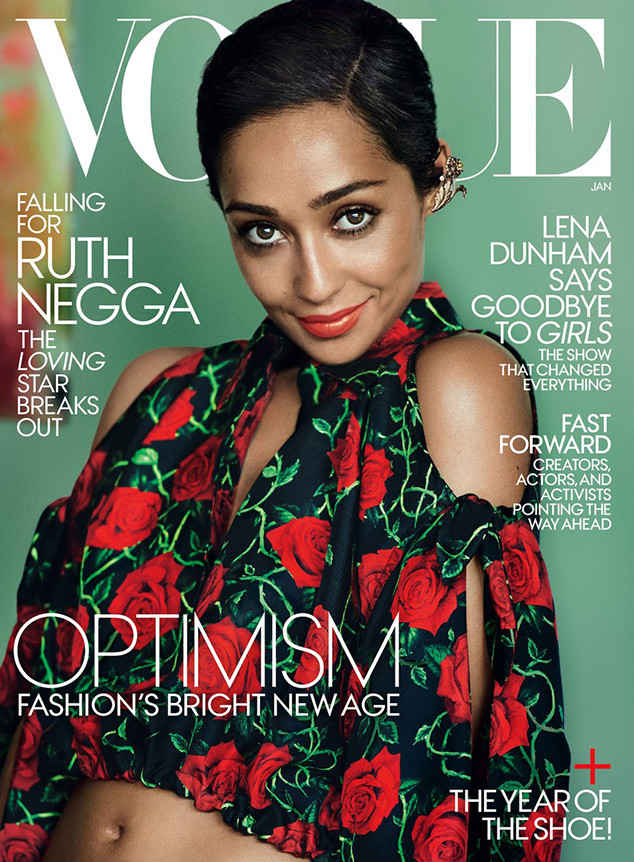 "Ruth Negga of ""Loving"" on January 2017 cover of Vogue (photo via vogue.com)"