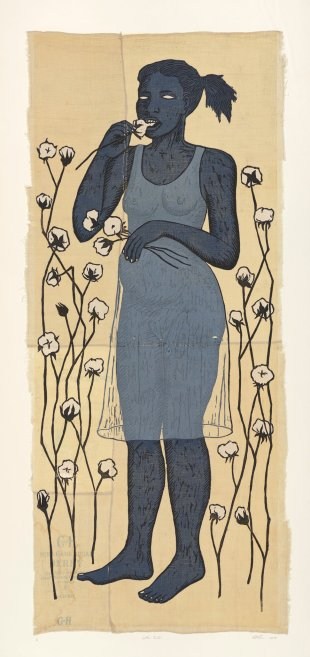 """Alison Saar, """"Cotton Eater, edition 1/6,"""" woodcut on found sugar sack quilt, 72 x 34 in., 2014."""