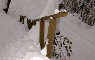 A Railing Along the Switchback Down to the ICT.