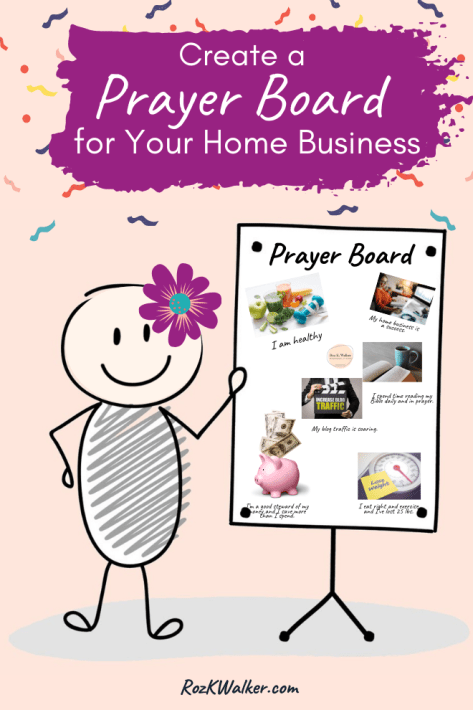 Stickwoman holding a vision board under a banner about creating a vision for your home business.