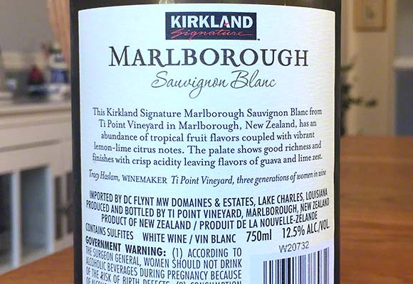 Back label 2016 Kirkland Signature Savignon Blanc Ti Point Vineyard