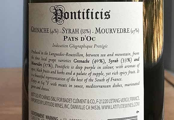 Back label Pontificis