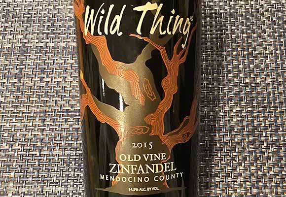 Carol Shelton's tasty 2015 Wild Thing Old Vine Zinfandel from Mendocino County