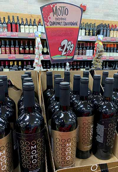 Motto backbone cabernet at Trader Joes for $2.99