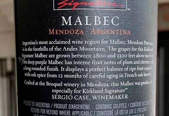 Kirkland Malbec made by Broquel and Sergio Case