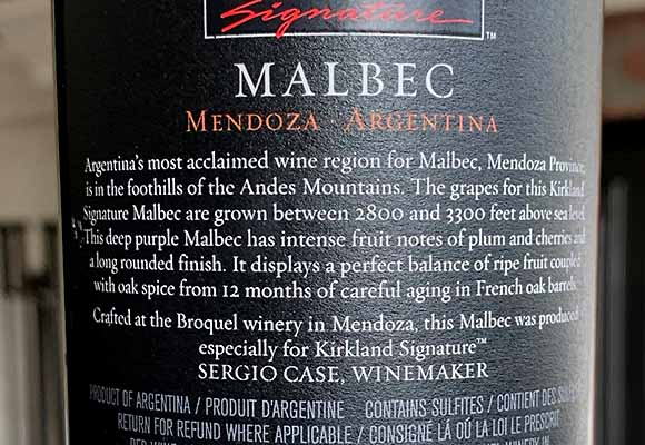 Kirkland Malbec made by Broquel and Sergio Case
