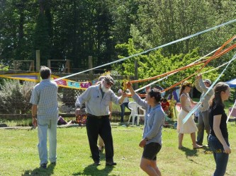 A beautiful day for a dance around the May pole.