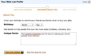 Amazon Wish List Info