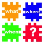 What, where, when? Puzzle graphic.