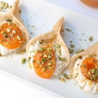 Qatayef with Ricotta Cream Filling and Poached Apricot.