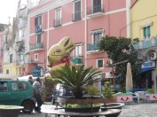 Outside the main Tabbachio at the port, a giant Lindt bunny greets us on Easter morning.