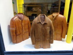 Wooden coats on display at a haberdashery, Paris Left Bank.