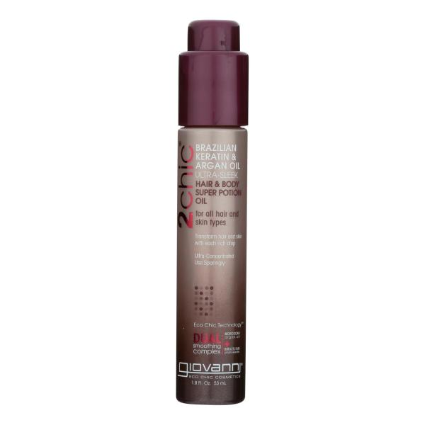 Giovanni 2chic Ultra-Sleek Hair and Body Super Potion with Brazilian Keratin and Argan Oil - 1.8 fl oz %count(alt)