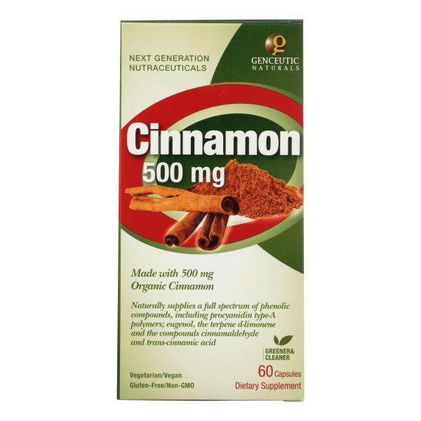 Genceutic Naturals Organic Cinnamon - 500 mg - 60 Capsules %count(alt)