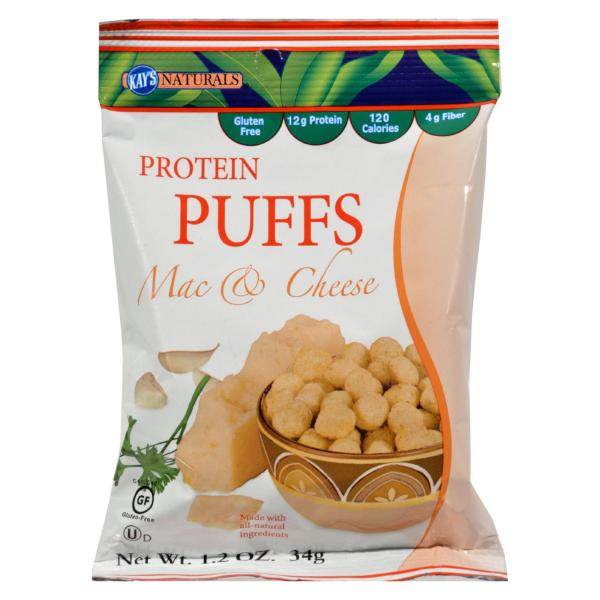 Kay's Naturals Protein Puffs - Mac and Cheese - Case of 6 - 1.2 oz %count(alt)