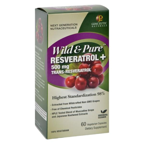 Genceutic Naturals Wild and Pure Resveratrol - 500 mg - 60 Vcaps %count(alt)