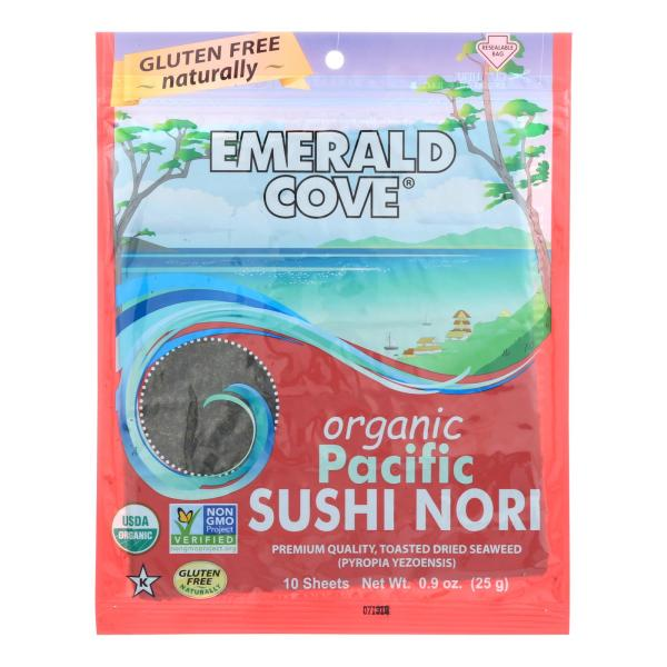 Emerald Cove Organic Pacific Sushi Nori - Toasted - Silver Grade - 10 Sheets - Case of 6 %count(alt)