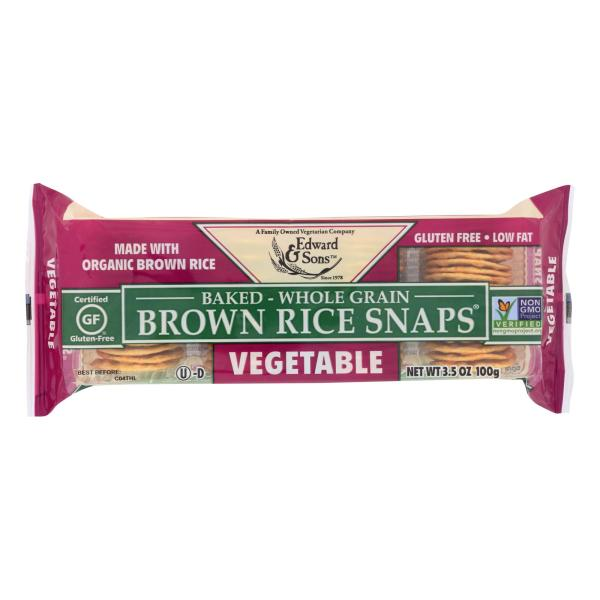 Edward and Sons Organic Vegetable Brown Rice Snaps - Case of 12 - 3.5 oz. %count(alt)