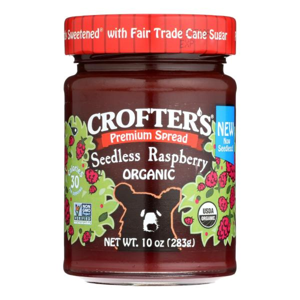 Crofters Fruit Spread - Organic - Premium - Raspberry - 10 oz - case of 6 %count(alt)