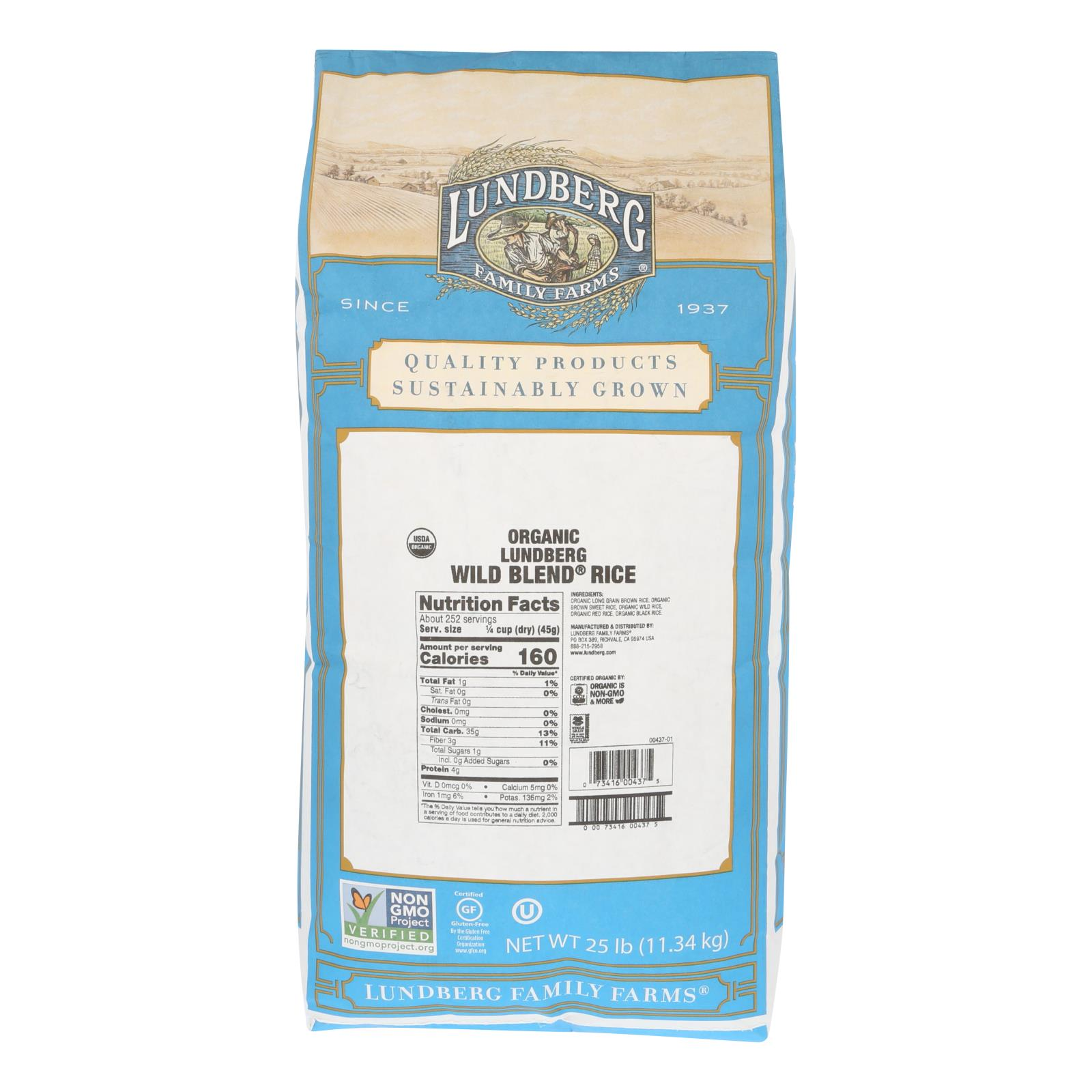 Lundberg Family Farms Organic Wild Blend Gourmet Brown Rice - Case of 25 lbs %count(alt)