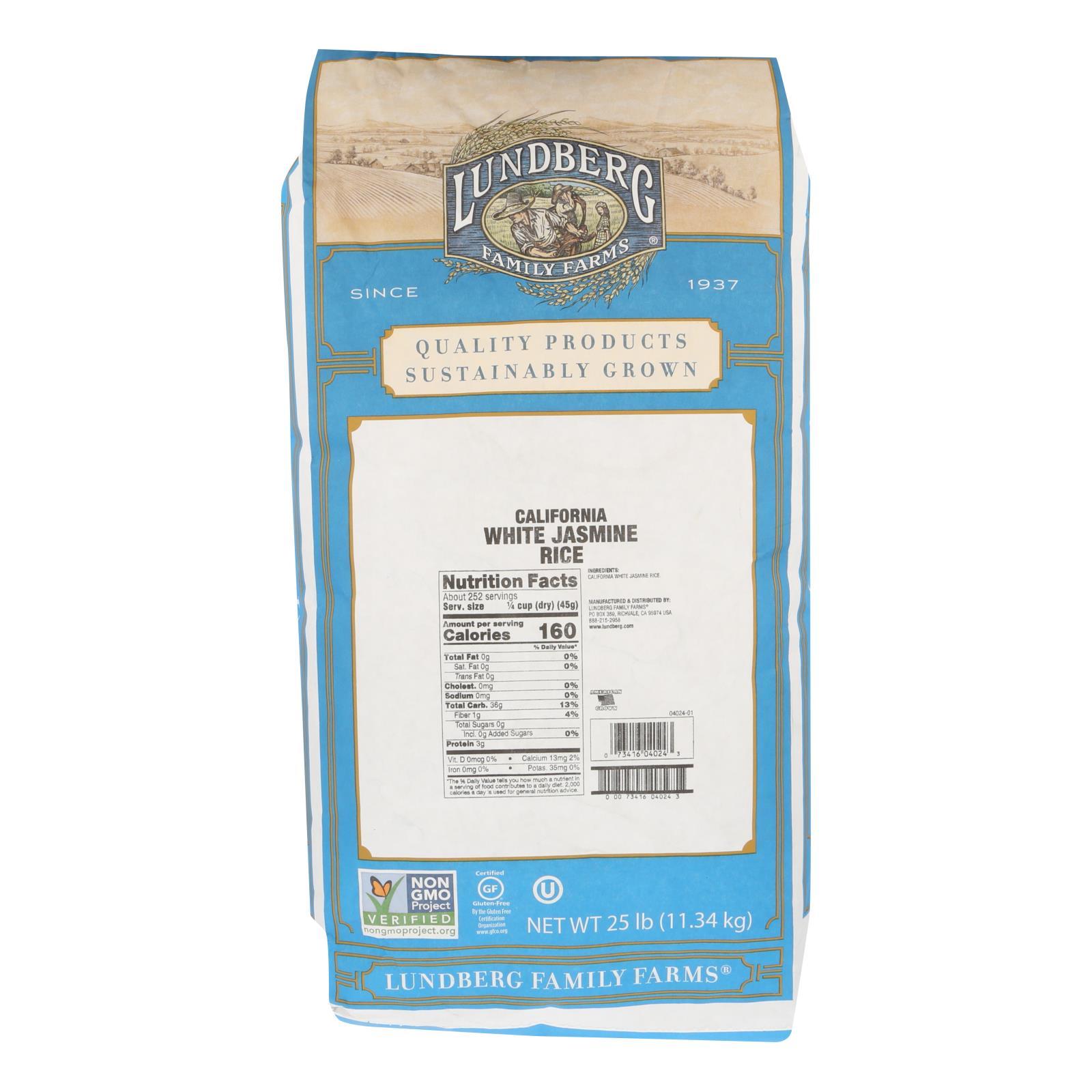 Lundberg Family Farms Eco-Farmed Rice - Jasmine White - 25 lb. %count(alt)